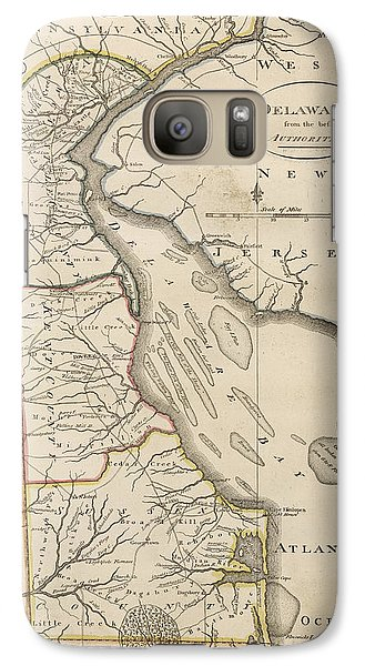 Galaxy Case featuring the drawing Antique Map Of Delaware By Mathew Carey - 1814 by Blue Monocle