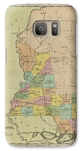 Galaxy Case featuring the drawing Antique Map Of Mississippi By David Burr - 1835 by Blue Monocle