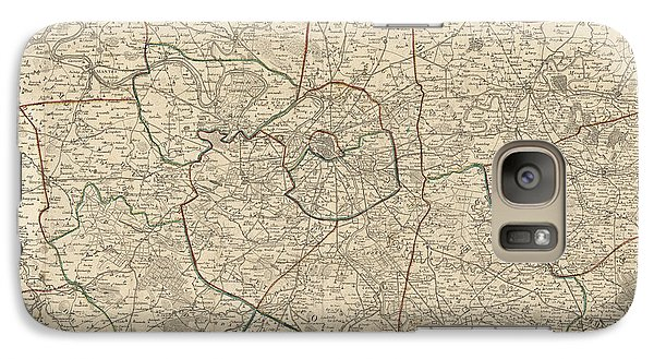 Galaxy Case featuring the drawing Antique Map Of Paris France And Surroundings By Jacques Esnauts - 1811 by Blue Monocle