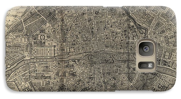 Galaxy Case featuring the drawing Antique Map Of Paris France By Nicolas De Fer - 1705 by Blue Monocle