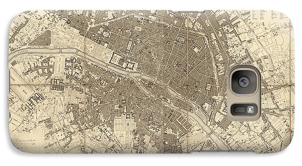 Galaxy Case featuring the drawing Antique Map Of Paris France By The Society For The Diffusion Of Useful Knowledge - 1834 by Blue Monocle