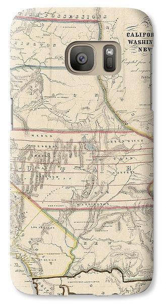 Galaxy Case featuring the drawing Antique Map Of The Western United States By John Disturnell - 1853 by Blue Monocle