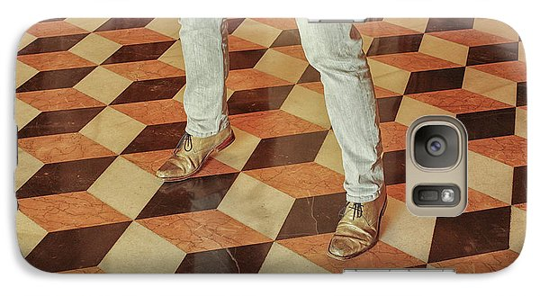 Galaxy Case featuring the photograph Antique Optical Illusion Floor Tiles by Patricia Hofmeester