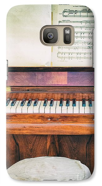 Galaxy Case featuring the photograph Antique Piano And Music Sheet by Silvia Ganora