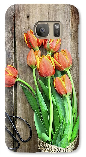 Galaxy Case featuring the photograph Antique Scissors And Bouguet Of Tulips by Stephanie Frey