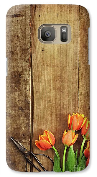 Galaxy Case featuring the photograph Antique Scissors And Tulips by Stephanie Frey