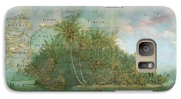 Galaxy Case featuring the photograph Antique Vintage Map Of North America Tropical Ocean by Debra and Dave Vanderlaan