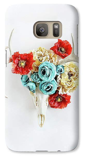 Galaxy Case featuring the photograph Antlers And Florals by Stephanie Frey
