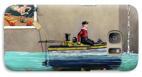 Galaxy Case featuring the painting Anyfin Is Possible - Fisherman Toy Boat And Mermaid Still Life Painting by Linda Apple