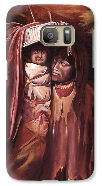 Galaxy Case featuring the painting Apache Girl And Papoose by Nancy Griswold
