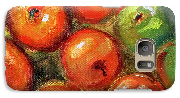 Galaxy S7 Case featuring the painting Apple Barrel Still Life by Nancy Merkle
