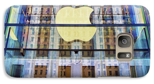 Galaxy Case featuring the photograph Apple Store And Plaza Hotel Reflection by Mitch Cat