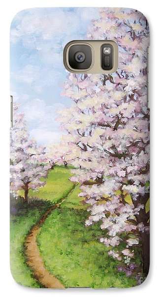 Galaxy Case featuring the painting Apple Trees Along The Path by Inese Poga