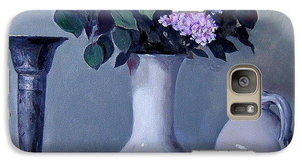 Apples And Lilacs, Silver Vase, Vintage Stoneware Jug Galaxy S7 Case
