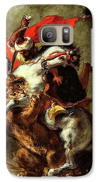Galaxy Case featuring the painting Arab Horseman Attacked By A Lion by Eugene Delacroix