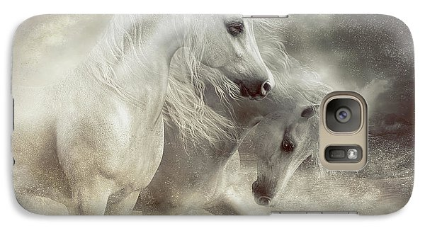 Galaxy Case featuring the digital art Arabian Horses Sandstorm by Shanina Conway