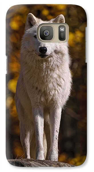 Galaxy Case featuring the photograph Arctic Wolf On Rocks by Michael Cummings
