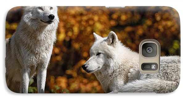 Galaxy Case featuring the photograph Arctic Wolves On Rocks by Michael Cummings