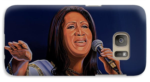 Aretha Franklin Painting Galaxy Case by Paul Meijering