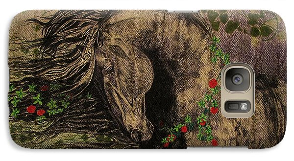Galaxy Case featuring the drawing Aristocratic Horse by Melita Safran