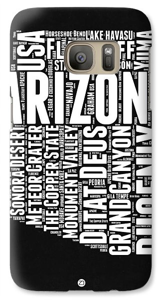 Arizona Black And White Word Cloud Map Galaxy S7 Case by Naxart Studio