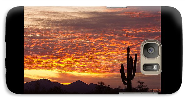 Arizona November Sunrise With Saguaro   Galaxy S7 Case