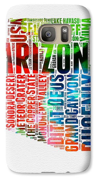 Arizona Watercolor Word Cloud Map  Galaxy S7 Case by Naxart Studio