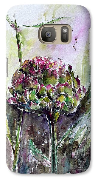 Galaxy Case featuring the painting Artichoke Watercolor And Ink By Ginette by Ginette Callaway