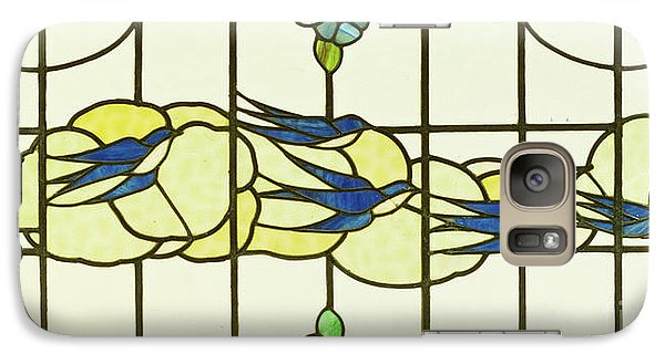 Arts And Crafts Panel Of A Group Of Swallows Before Clouds In A Border Of Flowers Galaxy S7 Case
