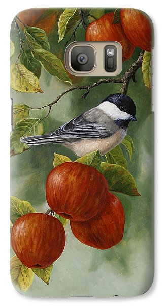 Apple Chickadee Greeting Card 2 Galaxy Case by Crista Forest