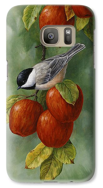 Apple Chickadee Greeting Card 3 Galaxy Case by Crista Forest