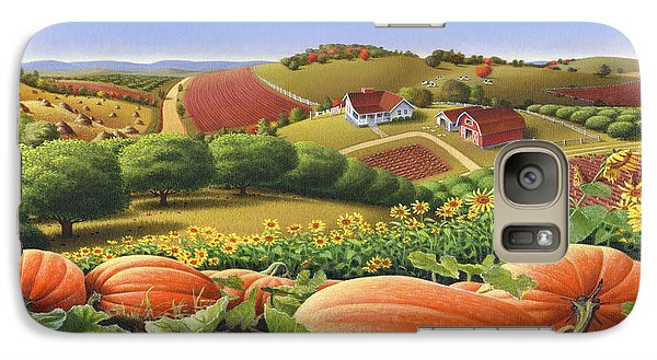 Farm Landscape - Autumn Rural Country Pumpkins Folk Art - Appalachian Americana - Fall Pumpkin Patch Galaxy S7 Case by Walt Curlee