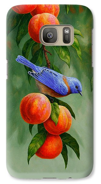 Bluebird Galaxy S7 Case - Bird Painting - Bluebirds And Peaches by Crista Forest