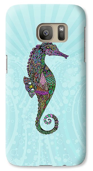 Galaxy Case featuring the drawing Electric Lady Seahorse  by Tammy Wetzel