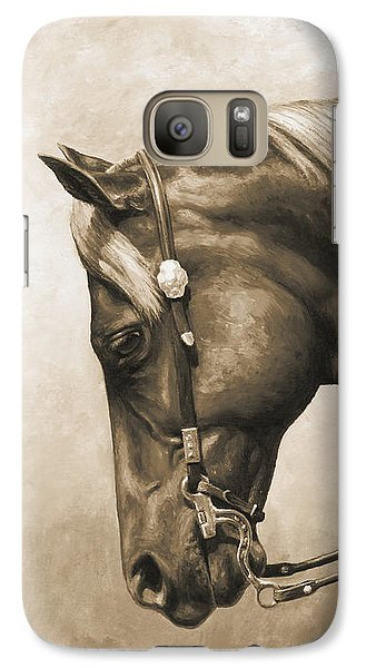 Horse Galaxy S7 Case - Western Horse Painting In Sepia by Crista Forest