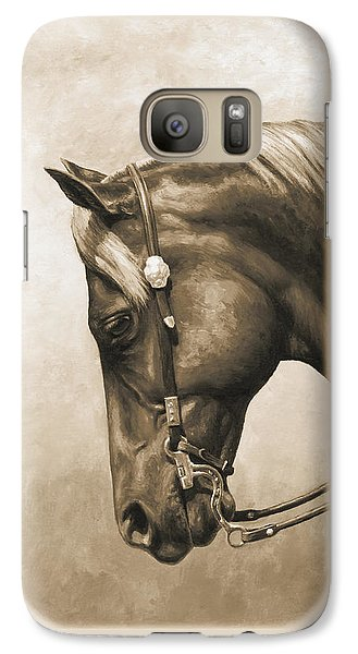 Western Horse Painting In Sepia Galaxy Case by Crista Forest