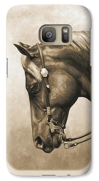 Western Horse Painting In Sepia Galaxy S7 Case by Crista Forest