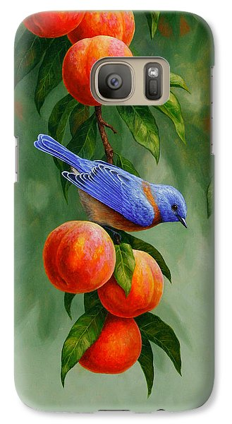 Bluebird And Peaches Greeting Card 1 Galaxy Case by Crista Forest