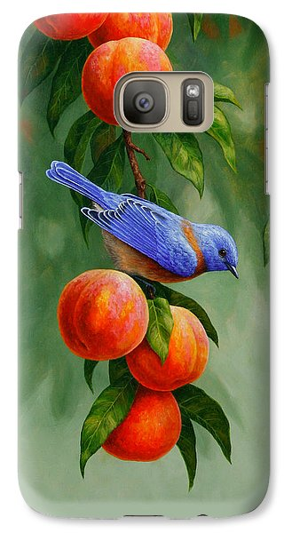 Bluebird And Peaches Greeting Card 1 Galaxy S7 Case by Crista Forest