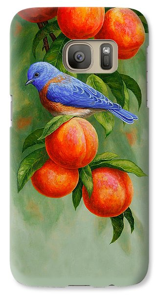 Bluebird And Peaches Greeting Card 2 Galaxy S7 Case by Crista Forest
