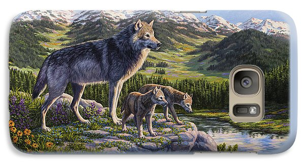 Wolf Painting - Passing It On Galaxy Case by Crista Forest
