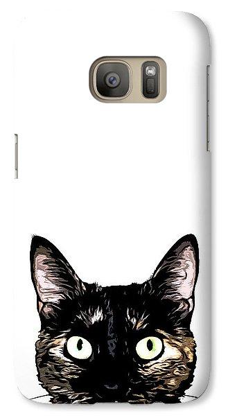Cat Galaxy S7 Case - Peeking Cat by Nicklas Gustafsson