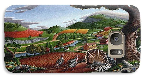 Wild Turkeys Appalachian Thanksgiving Landscape - Childhood Memories - Country Life - Americana Galaxy S7 Case