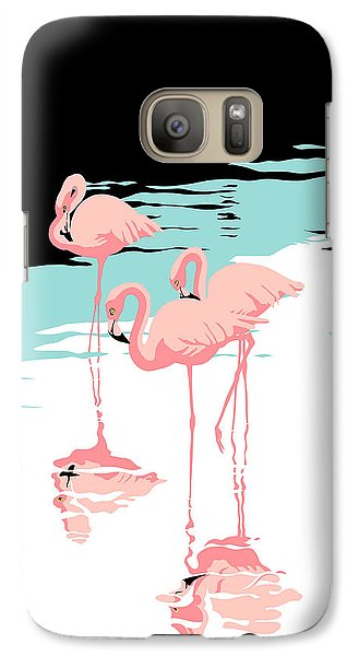 Flamingo Galaxy S7 Case - Pink Flamingos Tropical 1980s Abstract Pop Art Nouveau Graphic Art Retro Stylized Florida Print by Walt Curlee