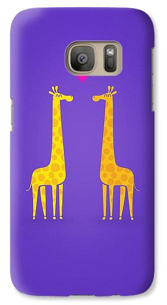 Cute Cartoon Giraffe Couple In Love Purple Edition Galaxy S7 Case