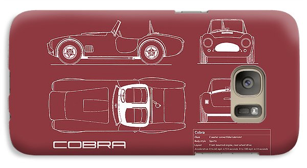 Ac Cobra Blueprint - Red Galaxy S7 Case by Mark Rogan