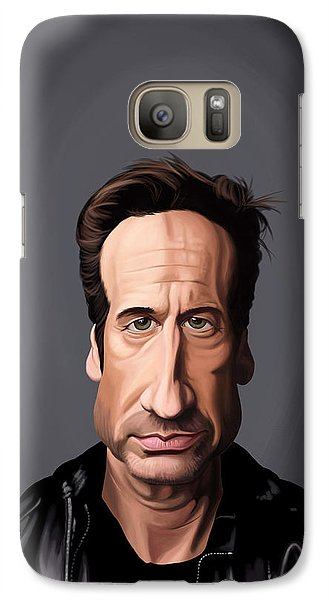 Galaxy Case featuring the drawing Celebrity Sunday - David Duchovny by Rob Snow