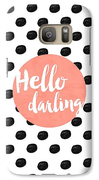 Hello Darling Coral And Dots Galaxy Case by Allyson Johnson