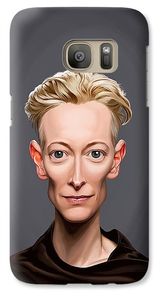 Galaxy Case featuring the drawing Celebrity Sunday - Tilda Swinton by Rob Snow