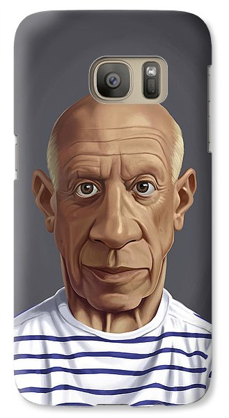 Galaxy Case featuring the drawing Celebrity Sunday - Pablo Picasso by Rob Snow
